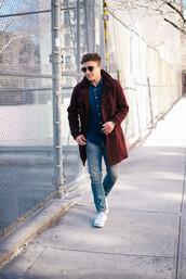 scout sixteen,menswear,blogger,denim,mens coat,burgundy,coat,sunglasses,shirt,shoes,jewels