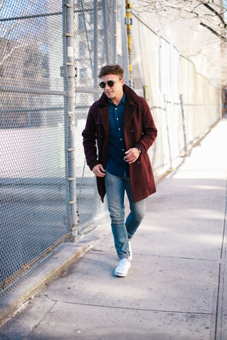 scout sixteen menswear blogger denim mens coat burgundy coat sunglasses shirt shoes jewels