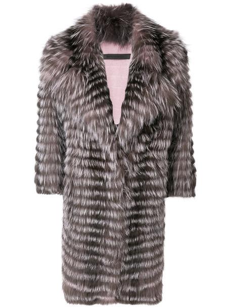 SIMONETTA RAVIZZA coat fur fox women wool purple pink