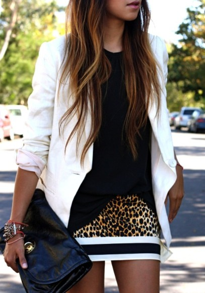 skirt cheetah black white ootd