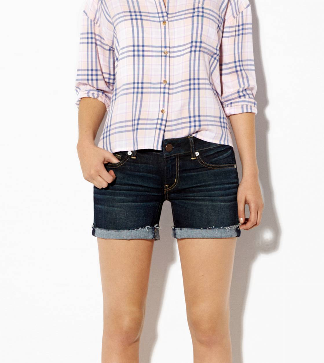AE Dark Denim Midi Short, Dark Wash | American Eagle Outfitters