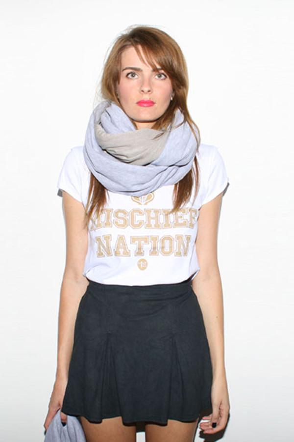 scarf snood knitwear grey grey beige urban street warm t-shirt varsity gold gold white print print snood scarf varsity tee mischief nation MINTFIELDS