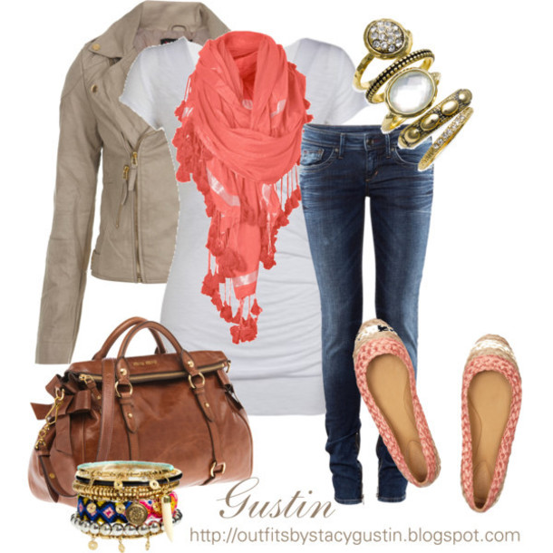 jacket clothes shirt jeans pants top purse bag jewelry shoes flats scarf beige brown peach salmon salmon