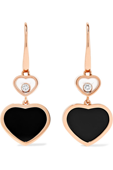 Chopard - Happy Hearts 18-karat Rose Gold, Diamond And Onyx Earrings - Happy Hearts 18-karat Rose Gold, Diamond And Onyx Earrings