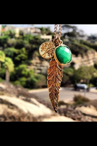 jewels golden necklace gold tree feather green stone necklace feather necklace