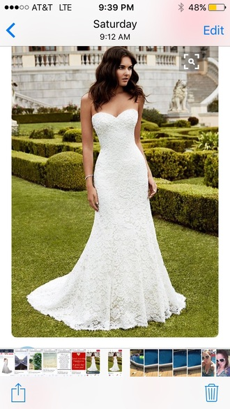 dress white lace strapless wedding gown