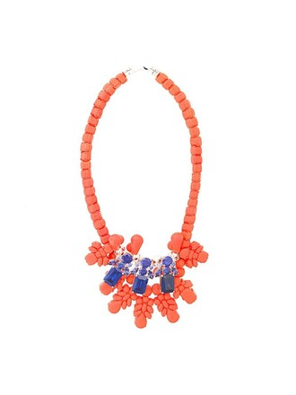 women embellished necklace yellow orange jewels