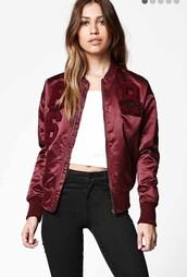 jacket,burgundy bomber jacket