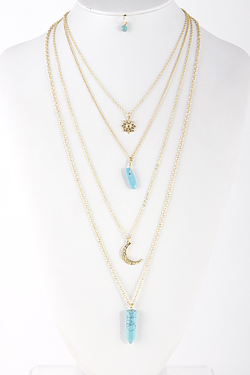 Blue moon stone necklace
