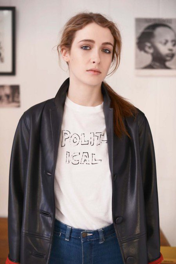 t-shirt bella freud white t-shirt jeans blue jeans jacket leather jacket black jacket