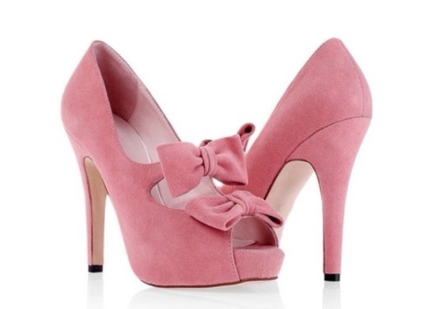 shoes high heels bows pink