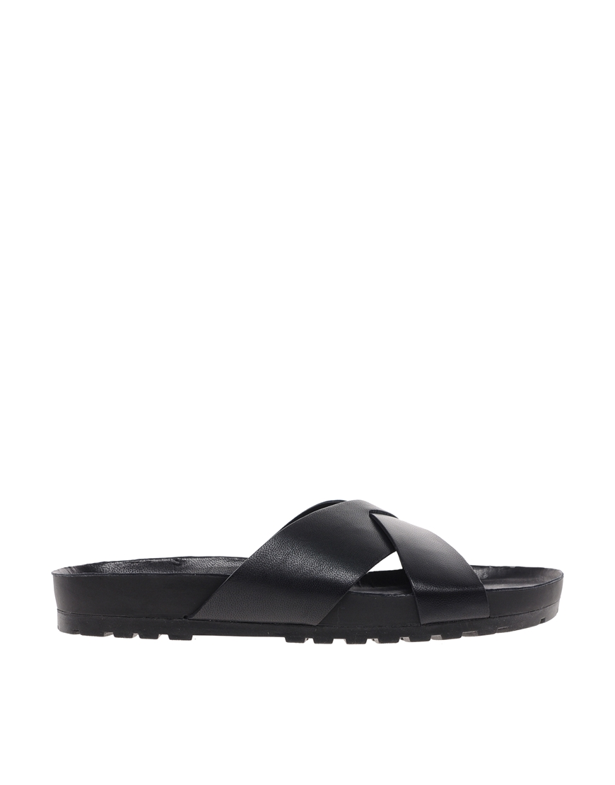 Vagabond Erie Black Woven Leather Sliders at asos.com