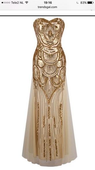 dress gold maxi dress sequins party dress homecoming dress prom dress elegant classy trendsgal.com