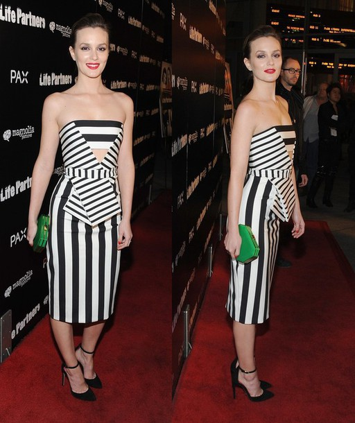 Dress: black and white, stripes, leighton meester, prom dress ...
