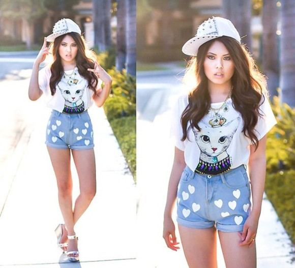 shoes shorts blouse hat cats studs heart
