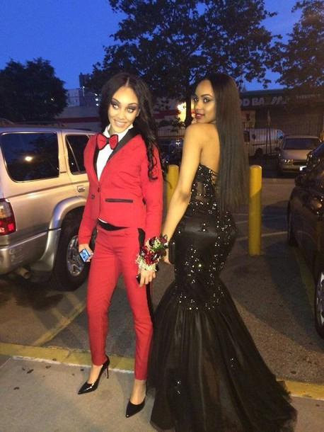 Dress: prom dress, female suit, suits, blouse, red, prom, tux ...