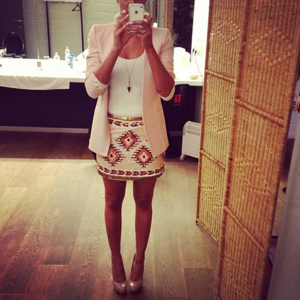 skirt aztec pink dress skirt top blazer clothes homecoming heels tribal pattern pencil skirt blazer white tan chic sequins midi skirt