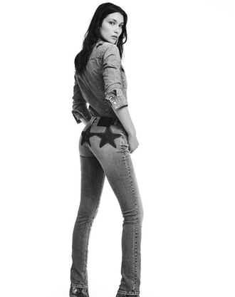 jeans bella hadid model denim straight jeans