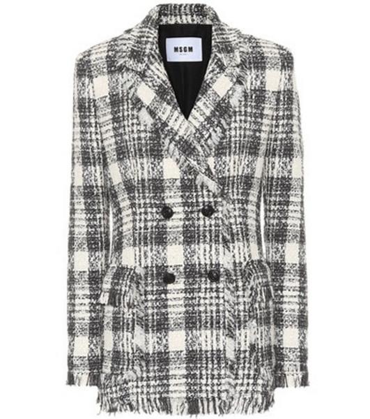 MSGM Plaid cotton-blend tweed blazer in black