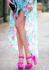 shoes,pink,heels,floral,blue,skirt,maxi,maxi skirt,black clutch,gold,watch,silver,fuschia,turquoise,high heels,dress,pink heels,high heel sandals,high low skirt,high low dress,floral dress