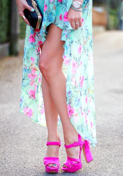 shoes pink heels floral blue skirt maxi maxi skirt black clutch gold watch silver fuschia turquoise high heels dress pink heels high heel sandals high low skirt high low dress floral dress