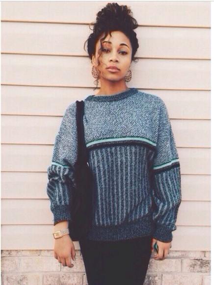 sweater shirt blue blue sweater black stripes bag winter sweater fall sweater