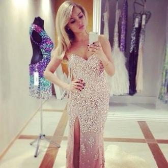 dress prom dress formal dress prom gown slit dress white dress detailed