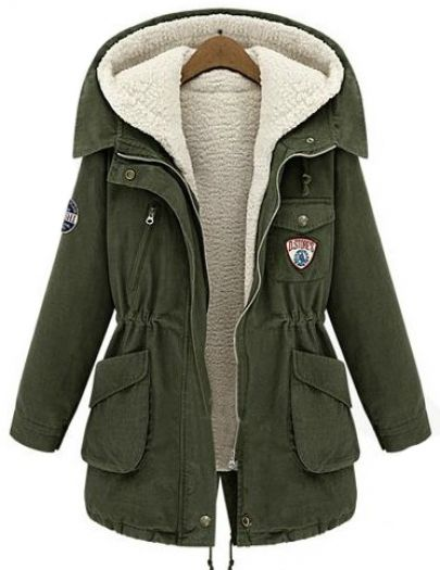 Army Green Hooded Long Sleeve Pockets Two Pieces Coat - Sheinside.com