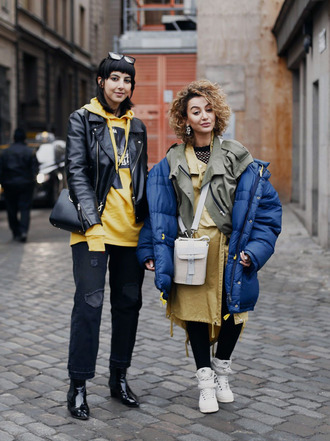 jacket tumblr fashion week 2017 streetstyle blue jacket puffer jacket dress shirt dress yellow dress yellow sneakers white sneakers high top sneakers boots black boots ankle boots patent shoes patent boots denim jeans black jeans hoodie black jacket black leather jacket leather jacket bag black bag white bag girl squad