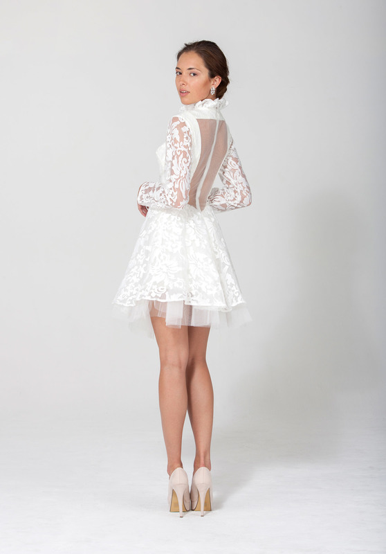 Mini Sheer Lace Tulle Dress In White Optic White Angel Dust