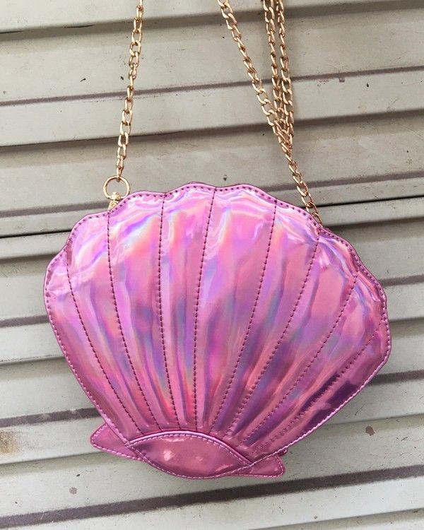 Pink Metallic Mirror Shell Shape Handbag Clutch