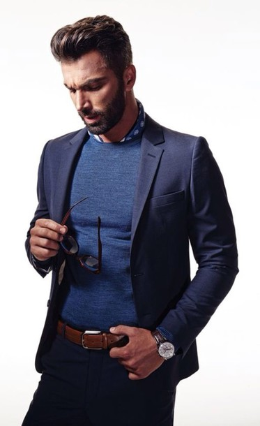 Blouse: menswear, mens t-shirt, mens jacket, mens sweater, blue ...