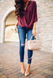 thesweetestthing,blogger,jeans,shoes,bag,jewels,burgundy,chanel,nude bag,ripped jeans,skinny jeans,lace up heels,nude heels,burgundy top,wrap top,chanel bag,blue jeans,pumps