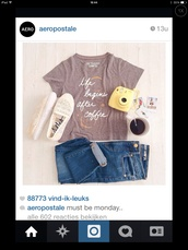 t-shirt,vintage,coffee beans,camera watch,boyfriend jeans,shoes,cute,jeans