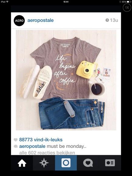 shoes cute vintage t-shirt coffee beans camera watch boyfriend jeans jeans