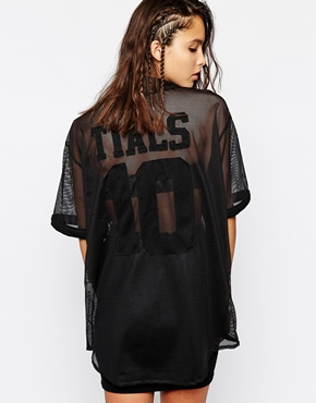 This Is A Love Song Sheer Mesh Baseball Button Up Jersey T-Shirt at asos.com