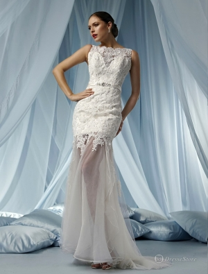 Bateau lace court train trumpet/mermaid wedding dress(austwdtm006) at dressestore