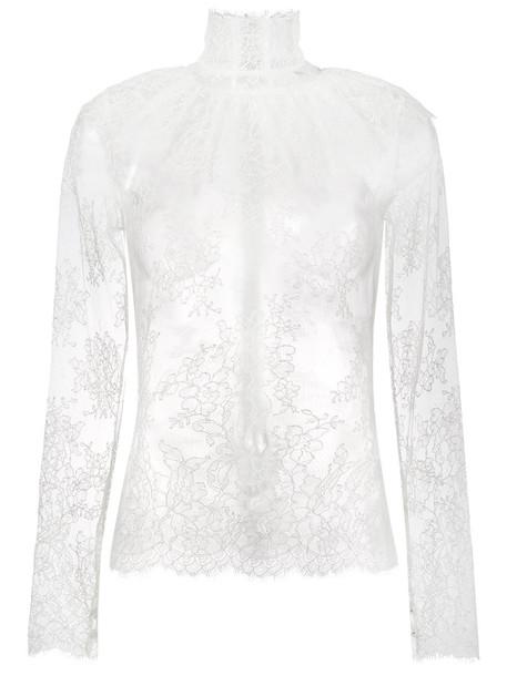 Bella Freud blouse sheer women lady lace white cotton top