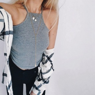 blouse grid top jewels jewelry cardigan tank top shirt jacket crop top and flannel chemise chemise noire t-shirt grey shirt grey tank top romper crop tops grey flannel shirt carreaux black noir blanc white women girl fille femme wmn long court
