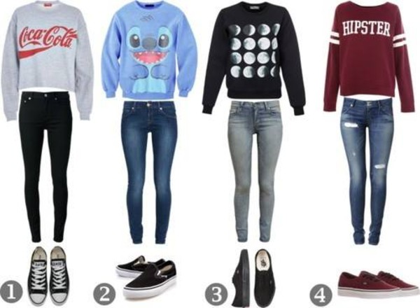 sweater jeans shoes vans converse hipster coca cola moon phases stitch moon hipster sweater ripped jeans romwe