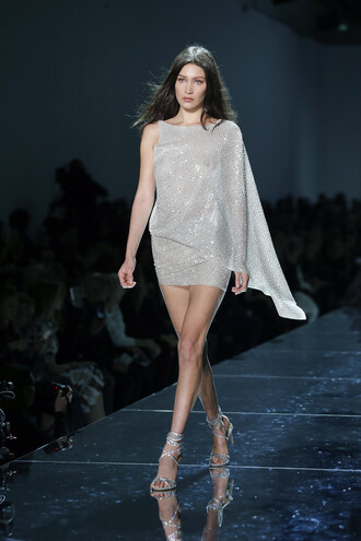dress mini dress sparkle sparkly dress sandals runway bella hadid model alexandre vauthier fashion week 2017 asymmetrical dress one shoulder fashion week