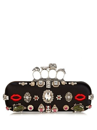 embellished clutch satin black bag