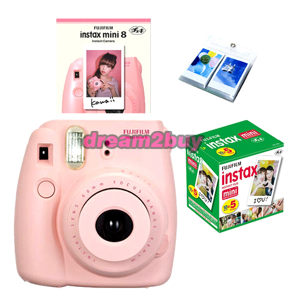 Fujifilm Fuji Instax Mini 8 Pink Instant Polaroid Camera 50 White Film Album | eBay