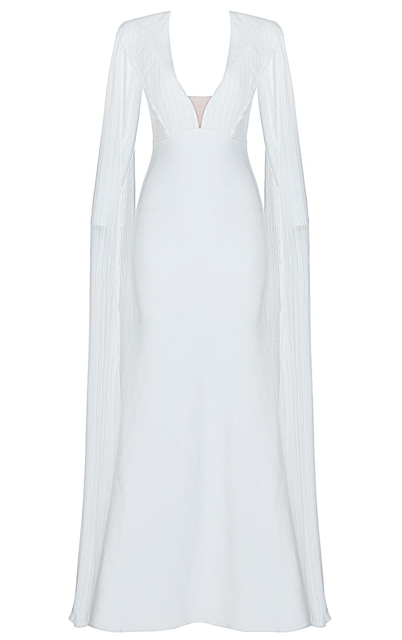 Cape Sleeve Plunge Maxi Bandage Dress White
