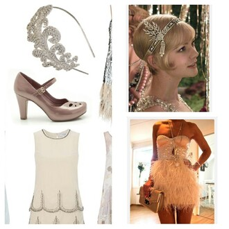 hat irideescent headband the great gatsby dress