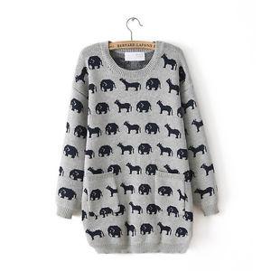 New 2013 Korea Women Fashion Solid Carton Elephant Crewneck Long Sleeve Sweater | eBay