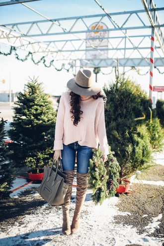 sweater tumblr beige sweater denim jeans blue jeans boots brown boots over the knee boots over the knee thigh high boots thigh-high boots bag grey bag hat felt hat