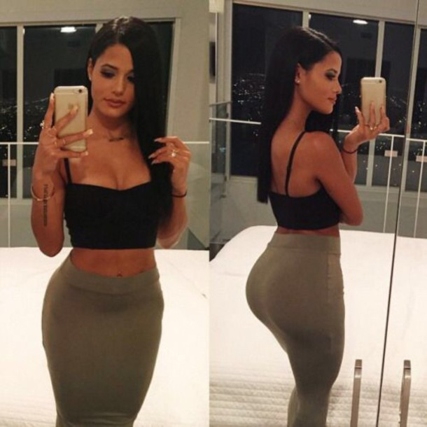 skirt grey high waisted midi skirt tight women top black bustier
