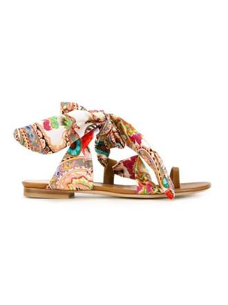 sandals flat sandals print paisley shoes