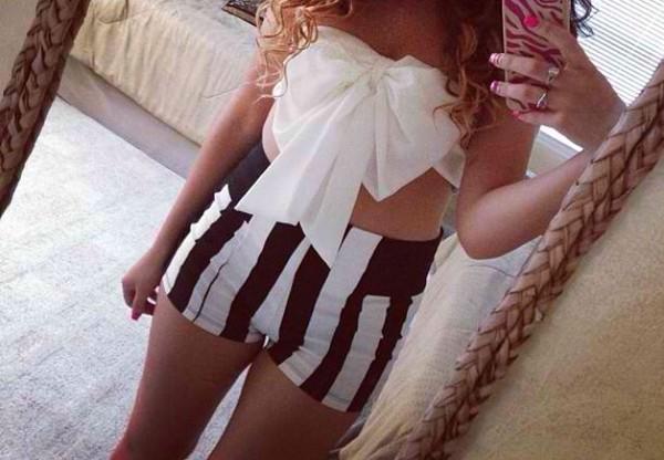 shorts High waisted shorts bow strapless top shirt